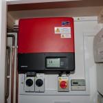 The SMA SunnyBoy 4000TL inverter, generation meter and isolators